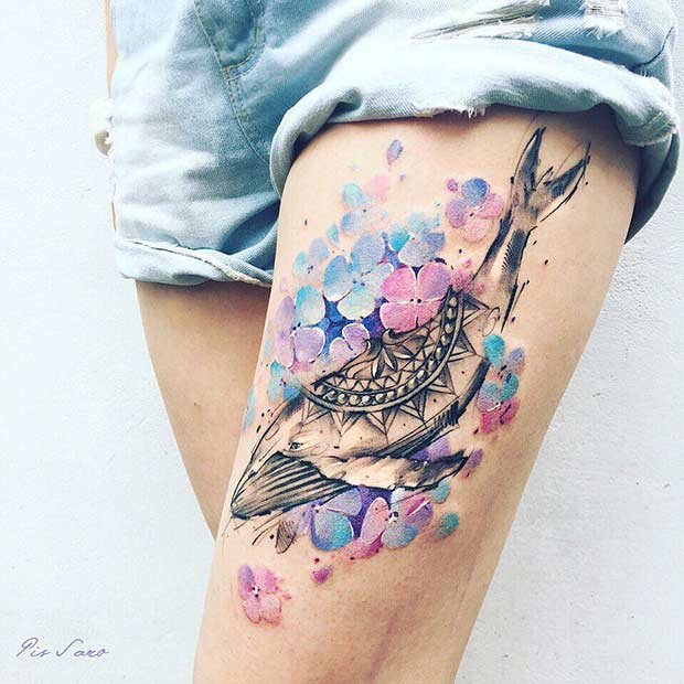 Watercolor Whale Thigh Tattoo Idea for Women