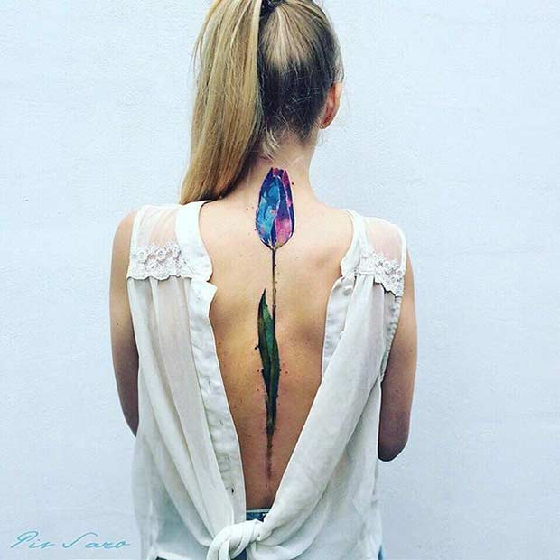 Watercolor Tulip Spine Tattoo Idea for Women