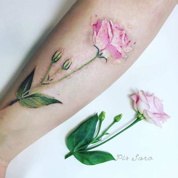 Pink Eustoma Watercolor Flower Tattoo Idea for Arm