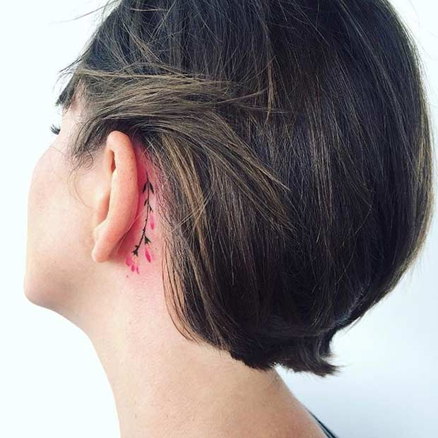 Small Behind the Ear Twig Watercolor Flower Tattoo Idea