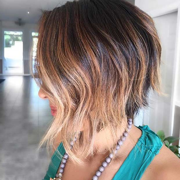 Inverted and Asymmetrical Bob Haircut with Highlights