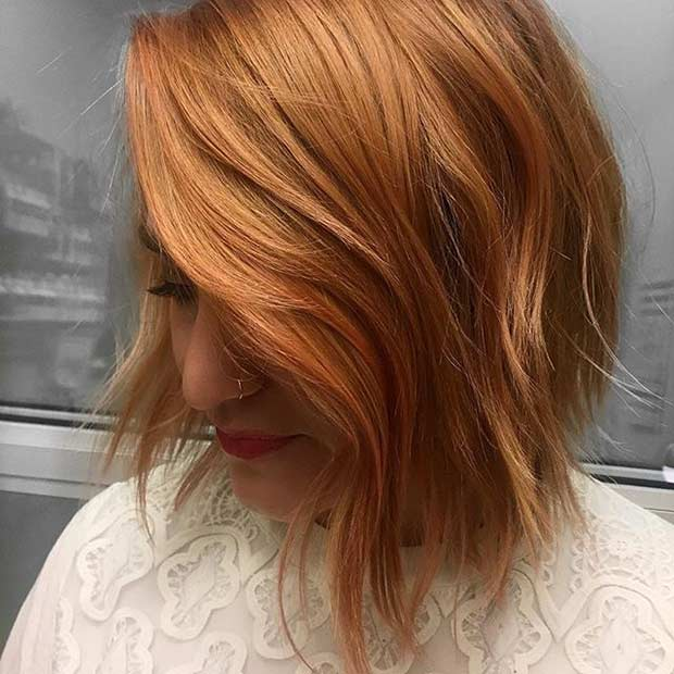 Cinnamon Orange Bob Haircut