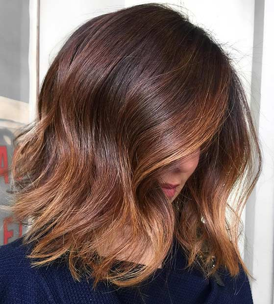 Wavy Brunette Bob Haircut with Balayage Highlights