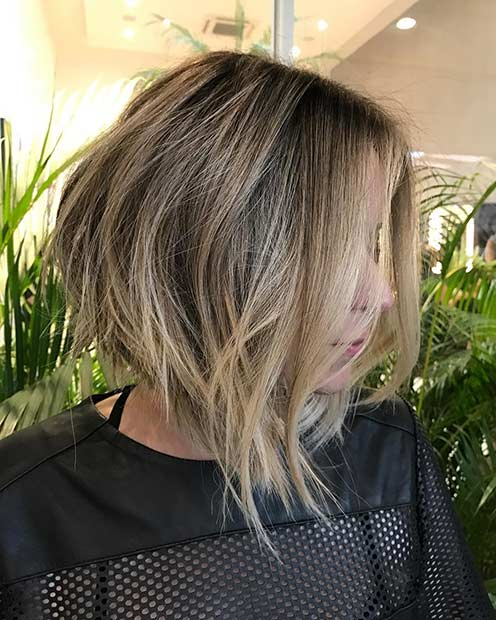 Sandy Blonde Inverted Bob Haircut