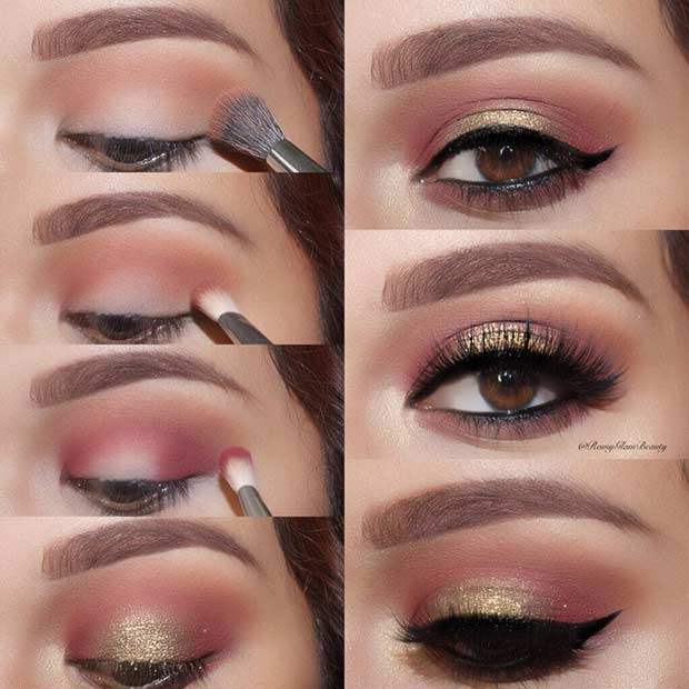 Gold and Burgundy Step by Step Eye Tutorial