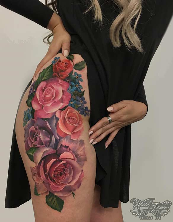 Colorful Flower Thigh Tattoo Design for Women