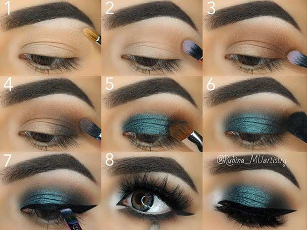 Teal Smokey Eye Step by Step Tutorial