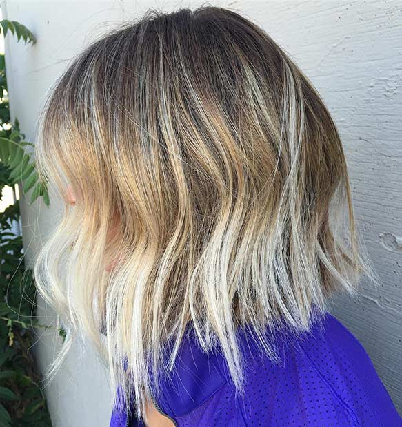 Icy Blonde Ombre Bob Haircut