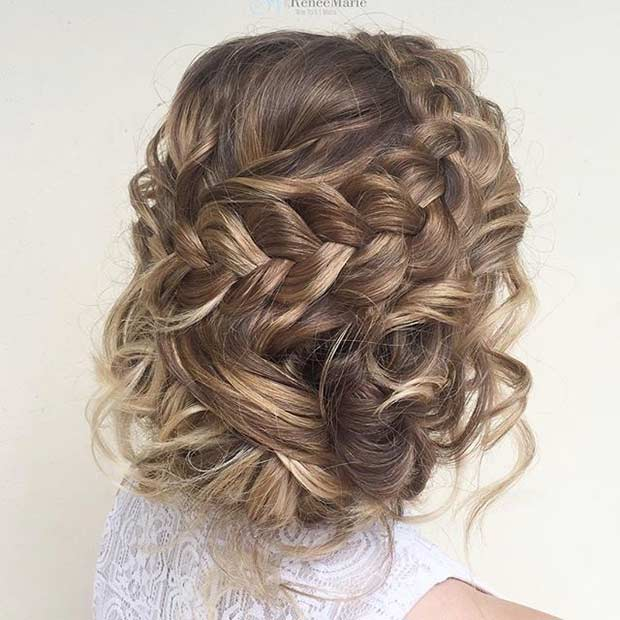Curly and Braided Updo for Prom