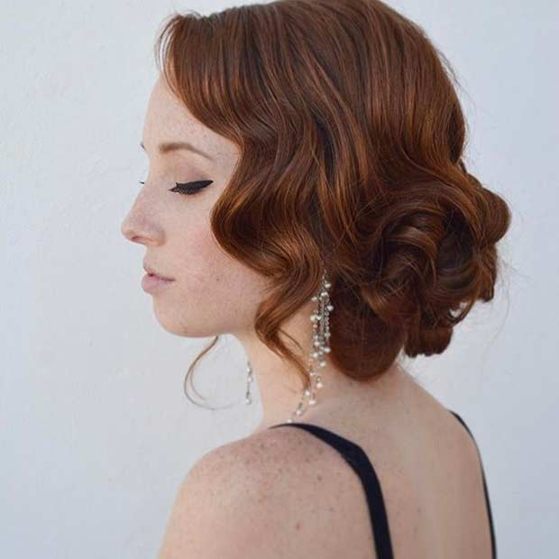 Curly Vintage Updo Idea For Prom