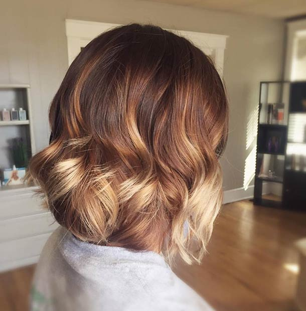 Red to Blonde Ombre Bob Haircut