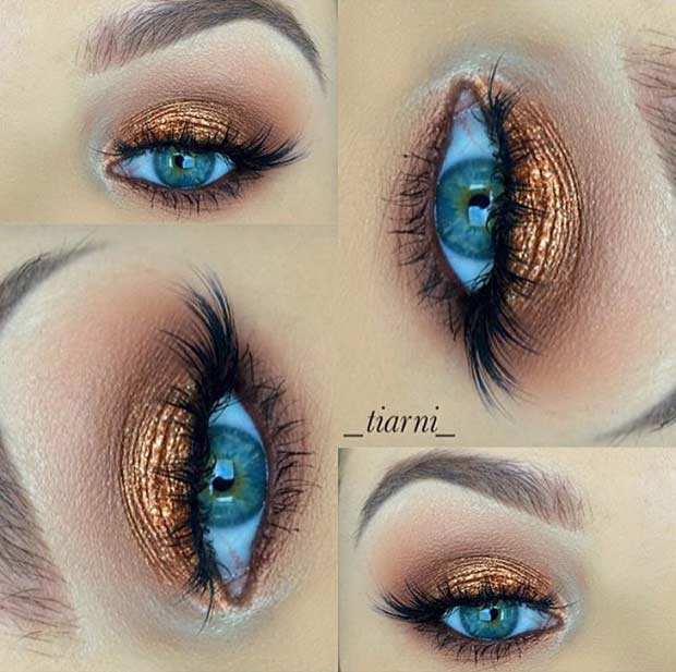 Bronze Eye Makeup Look for Blue Eyes