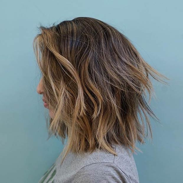 Layered and Textured Long Bob Haircut