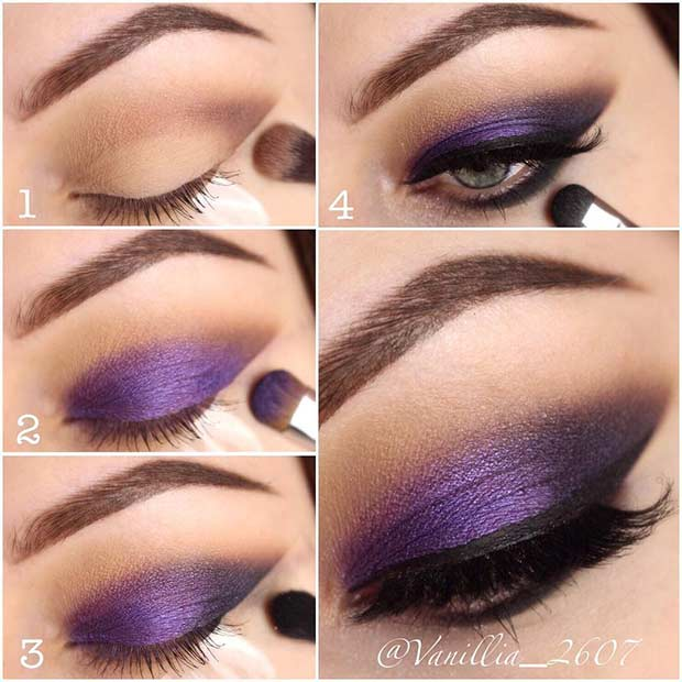 Purple Smokey Eye Tutorial for Blue Eyes