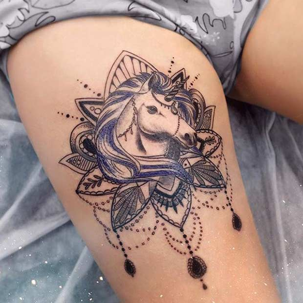 Unicorn Mandala Thigh Tattoo Design Idea