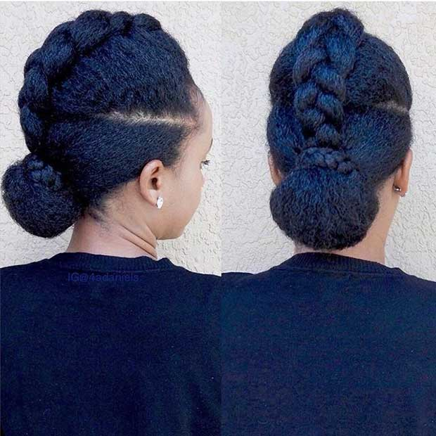 21 chic and easy updo hairstyles for natural hair stayglam braid into a bun updo for natural hair pmusecretfo Image collections