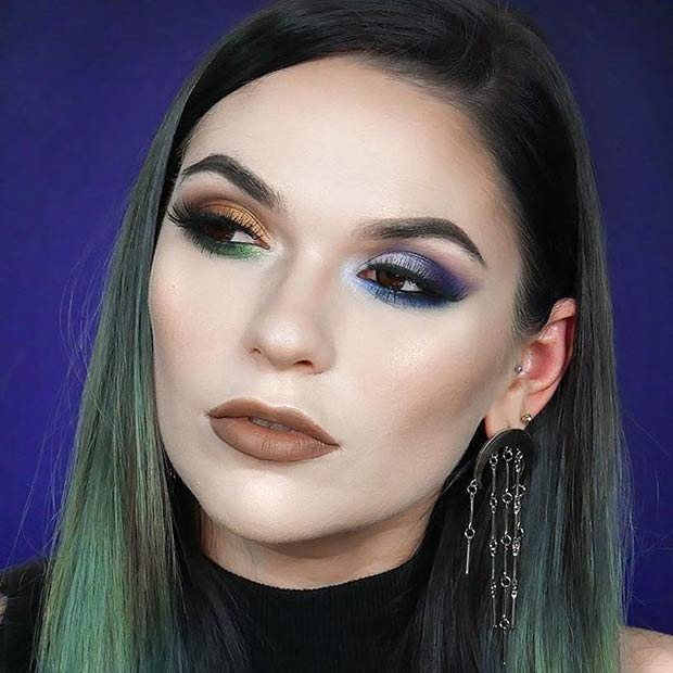 Purple, Green and Brown Eye Shadow Makeup Idea for Spring