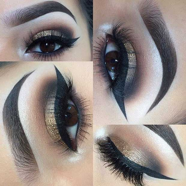Elegant Gold Smokey Eye Look for Brown Eyes