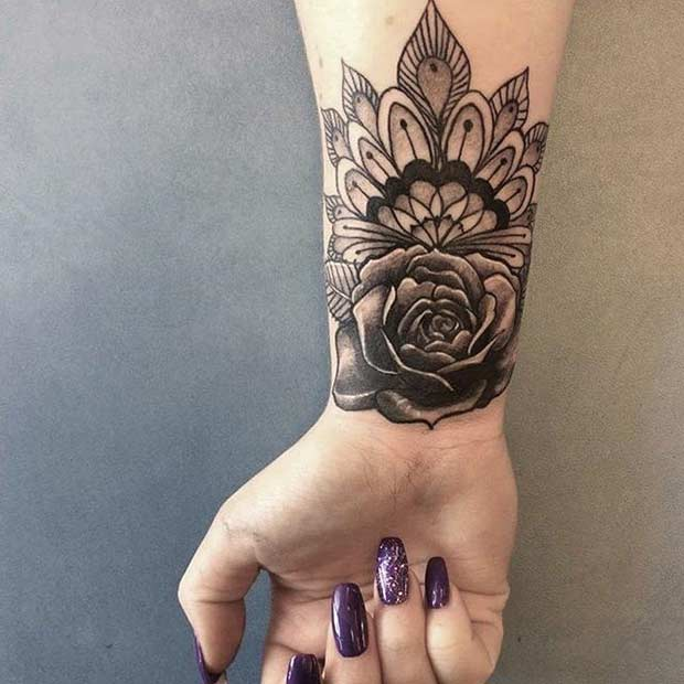 Floral Mandala Wrist Tattoo Idea for Women