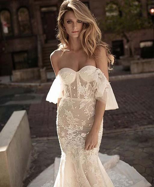 Elegant Lace Off the Shoulder Wedding Dress