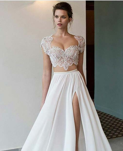Crop Top and Skirt Wedding Dress
