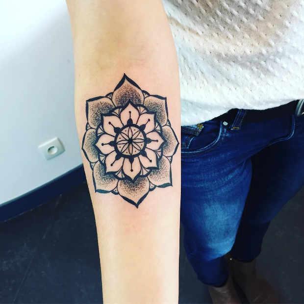 Women's Floral Forearm Mandala Tattoo
