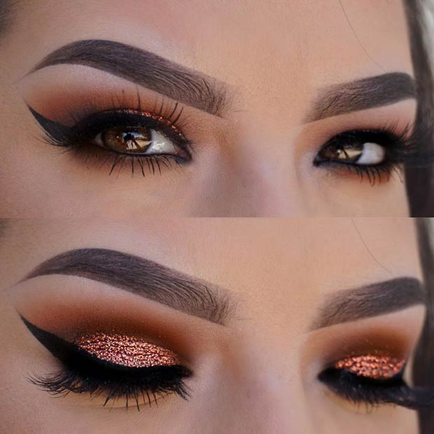 Copper Glitter Cut Crease Makeup Idea