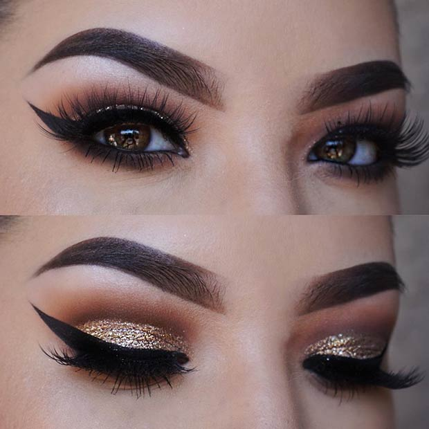 Gold Glitter Smokey Eye Makeup Look for Brown Eyes