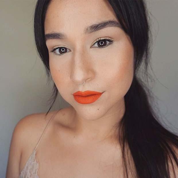 Natural Eye Makeup with Orange Lips