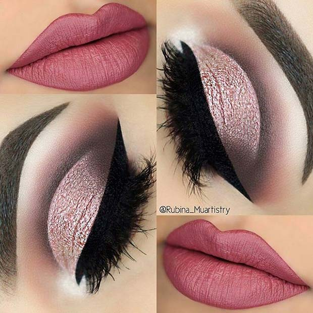 Glamorous Eye Makeup with Pink Lips for Spring Makeup Ideas