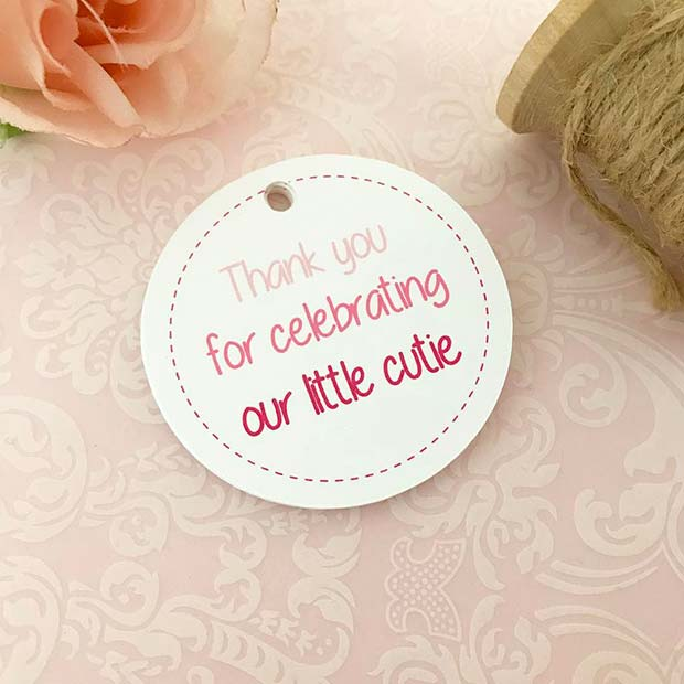 Thanks Gift Tags for Girls Baby Showers