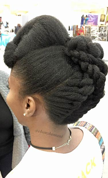 Natural Hair Updo with Twists
