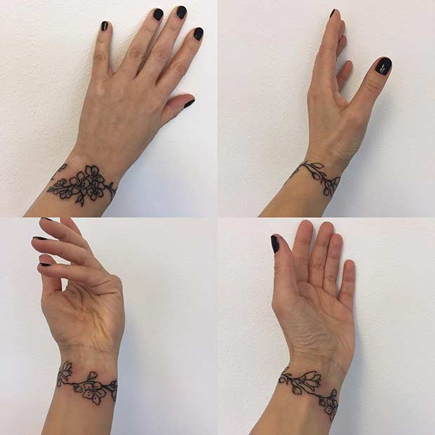 Floral Bracelet Design for Women's Wrist Tattoo Ideas
