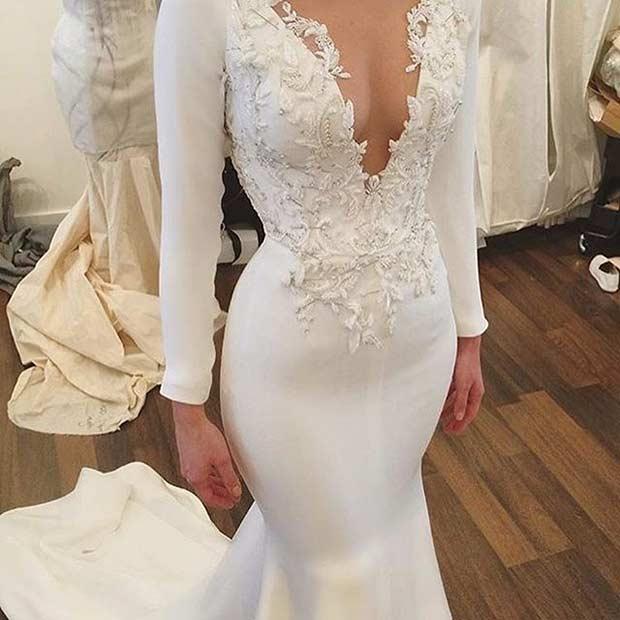 Embellished Low Cut Wedding Dress