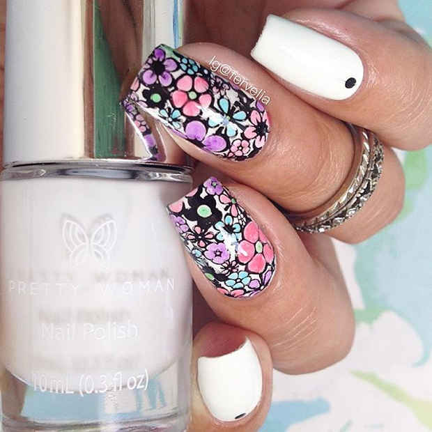 White Nails with Multi Color Flower Nail Design for Spring 2017
