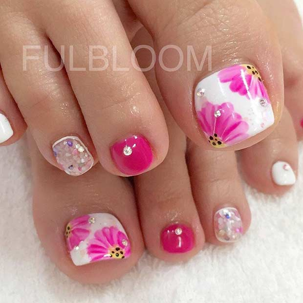 Spring Nail Art: 25 Eye-Catching Pedicure Ideas For Spring