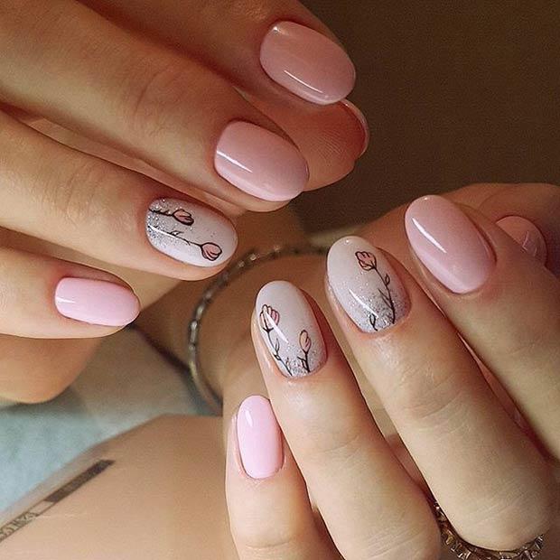 Glittery Pink Flower Nail Art Design