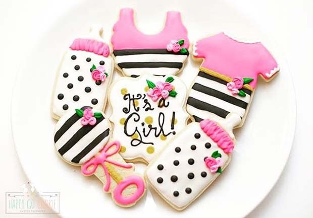 It's a Girl Biscuits with Bottle and Rattle for Girl's Baby Shower Idea