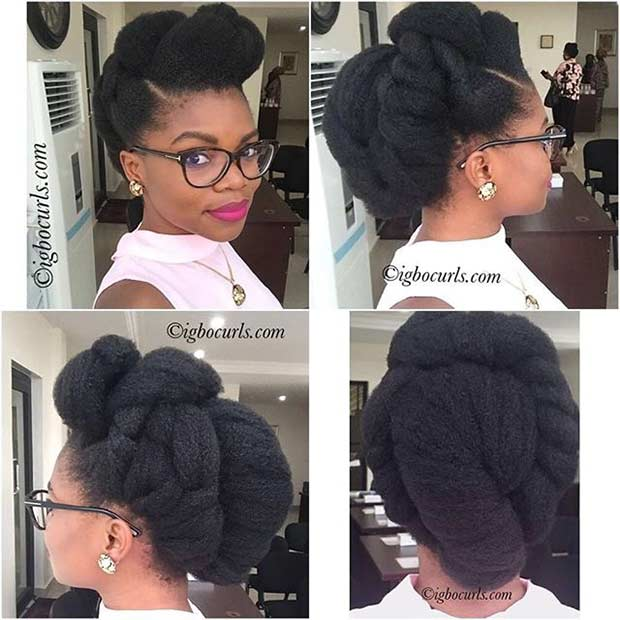 Natural Hair Updo for Weddings and Brides