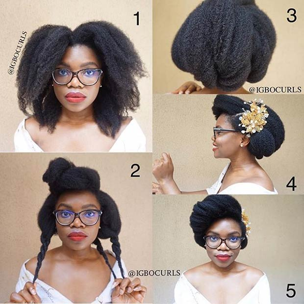 21 chic and easy updo hairstyles for natural hair stayglam elegant wedding step by step updo tutorial for natural hair pmusecretfo Gallery