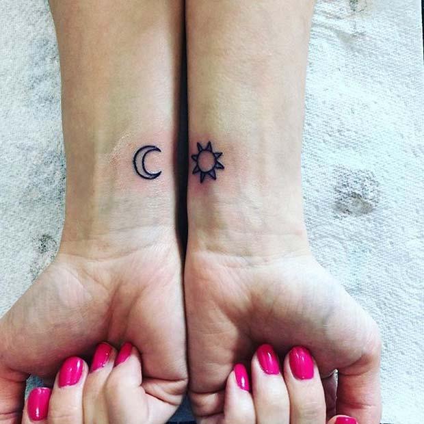 Moon and Sun Double Wrist Design for Women's Tattoo Ideas