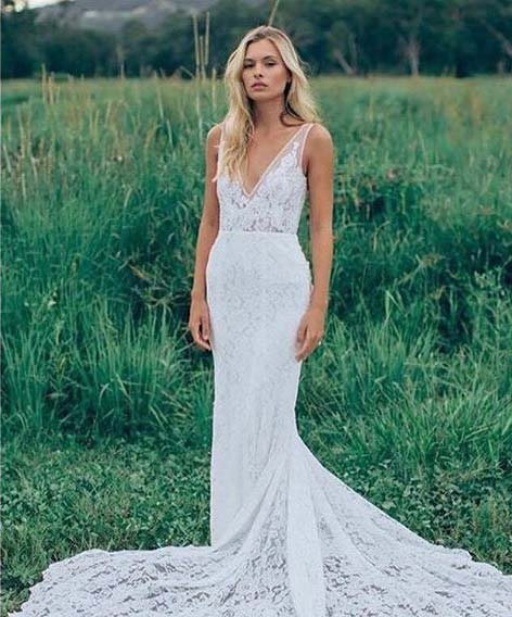 Long Bohemian Style Wedding Dress