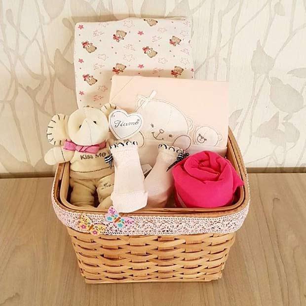 Baby Essentials in Basket for Girls Baby Shower