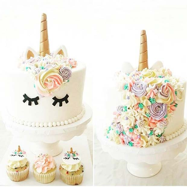 Unicorn Cake For Girls Baby Shower