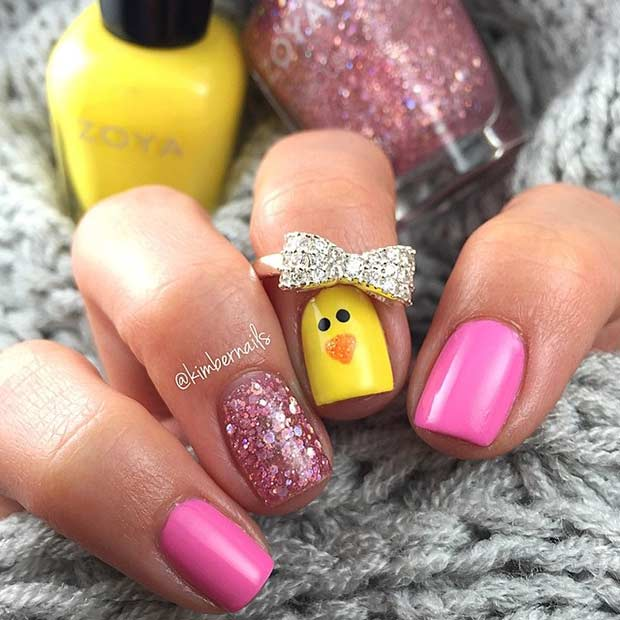 Easy Easter Chick Glitter Nail Art Design