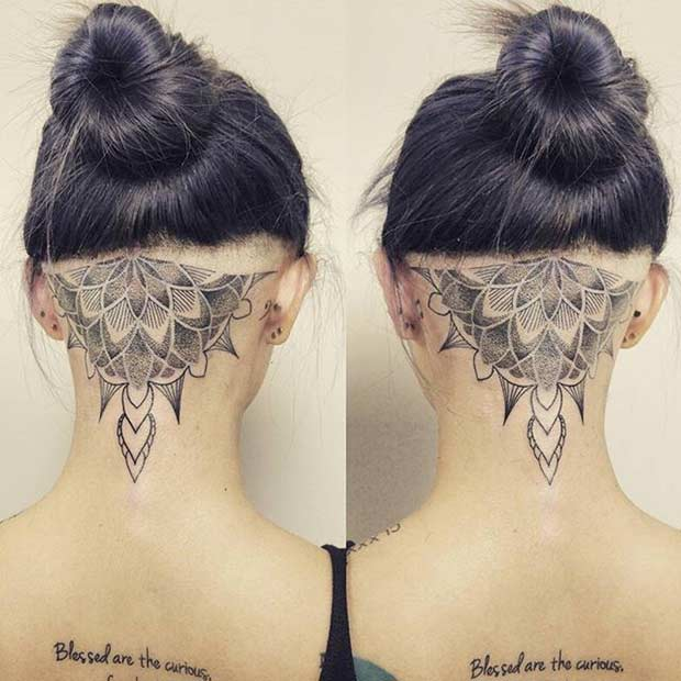 Women's Back of Head Undercut Mandala Tattoo