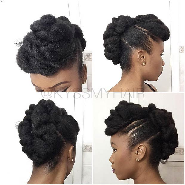 Twisted Mohawk Updo for Natural Black Women