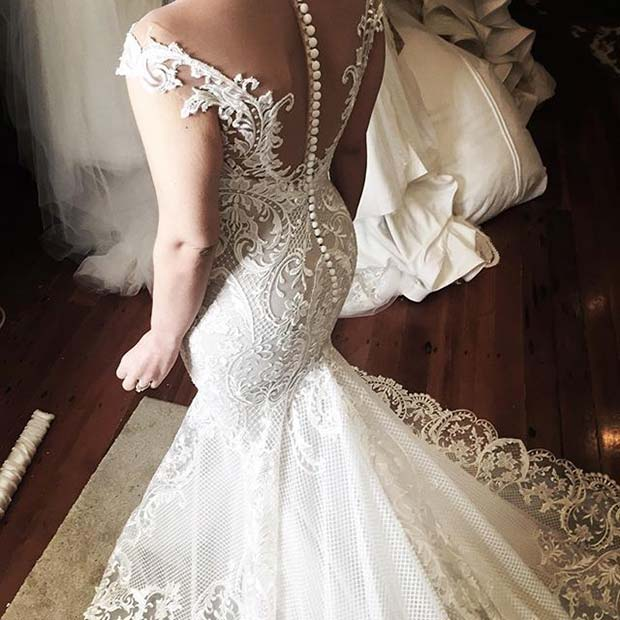 White Lace Wedding Dress with Button Detail