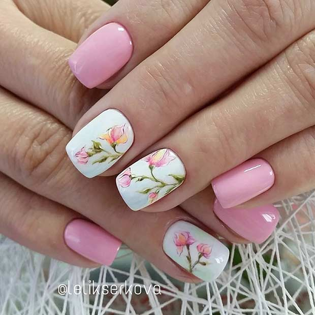 Pretty Light Pink Flower Nail Design for Spring - 21 Gorgeous Floral Nail Designs For Spring Page 2 Of 2 StayGlam