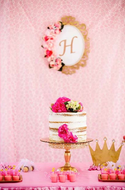 Pink Food Table With Cake For Girls Baby Shower